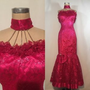 Metallic Pink Lace Vintage 80s Prom Dress